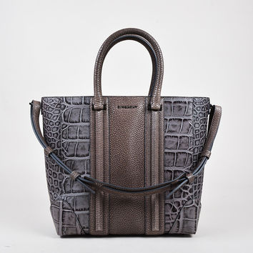 "Givenchy Grey Taupe Embossed Crocodile Skin ""Lucrezia"" Tote Bag,shoulder bag stylish Soft Chanel"