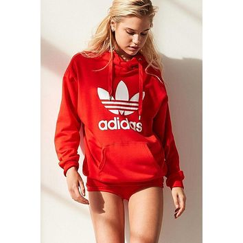 LMFON Adidas Women Fashion Hooded Top Pullover Sweater Sweatshirt Hoodie Casual Sports Shorts Red