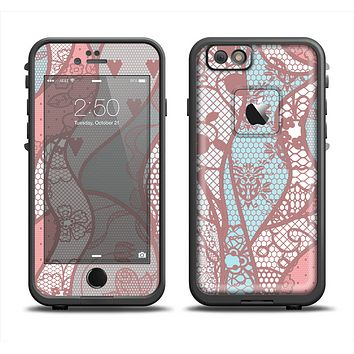 The Pink & Teal Lace Design Apple iPhone 6 LifeProof Fre Case Skin Set