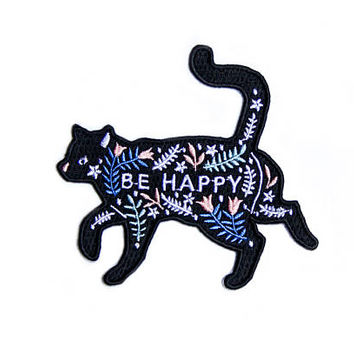 Embroidered Patch, Cat Iron On / Sew On Patch, Be Happy Cat Patches