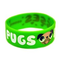 Pugs & Kisses Wristband from Cosmic at Beadesaurus | Silicone Wristbands, Rubber Wristbands, Slogan Wristbands | Free UK Shipping Over £25