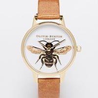 Olivia Burton Bee Tan Leather Strap Midi Dial Watch