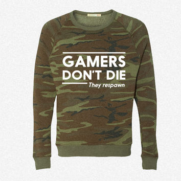 Gamers don't die they respawn fleece crewneck sweatshirt