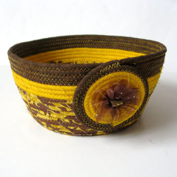Clothesline Rope Basket Hand Coiled Xtra Large Gold Brown