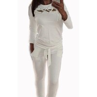 Pure Color Straps Hollow Out T-shirt with Skinny Pants Two Pieces Set