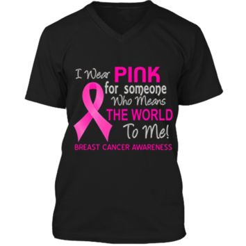 Breast Cancer T-Shirt Pink For Someone Who Means World To Me Mens Printed V-Neck T