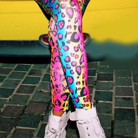 Lisa Frank Inspired Rainbow Leopard Print Leggings