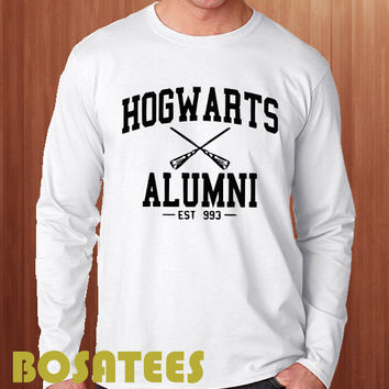 hogwarts alumni shirt harry potter long sleeve printed black and white unisex size (BS-71)