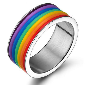 2016 Jewelry High Quality  Stainless steel GAY & Lesbian Ring Rainbow Ring free shipping