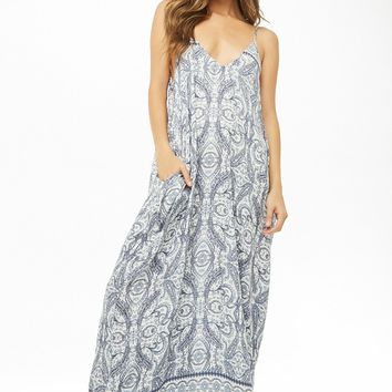 Ornate Paisley Print Trapeze Maxi Dress