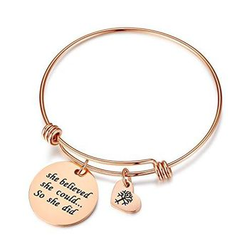 AUGUAU Women Girl Jewelry She Believed She Could So She Did Bracelet with heart tree of life, gifts for mom,her