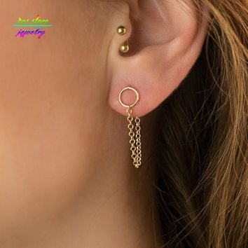 Minimalist Gold/Silver Round Statement Stud Earrings For Women Brief Front And Back Earrings Bjoux