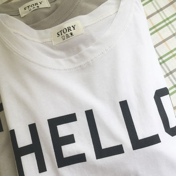 "White ""Hello"" Print Short Sleeves Shirt"