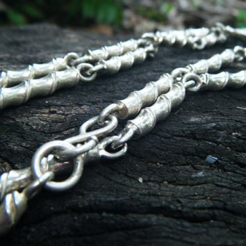 Beautiful Solid Sterling Silver Necklace, double strand choker or long single strand necklace