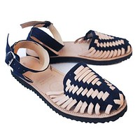 Women's Navy Strapped Woven Leather Huarache Sandals