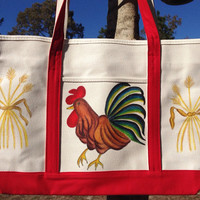 Hand Painted Zippered Tote Bag Rooster