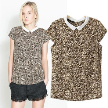 Leopard Print Short Sleeve Chiffon Pointed Flat Collar Top