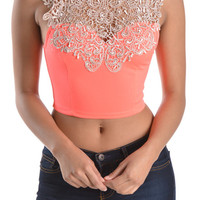Crop Victorian Crocheted Top - Neon Pink