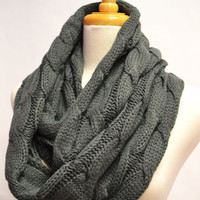 Chunky Knitted Loop Infinity Circle Scarf Cable Pattern Snood Cowl