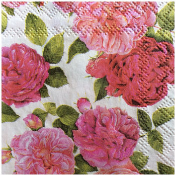 Pack of four 3 ply decoupage paper napkins vintage Victorian roses