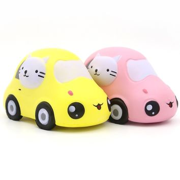 "Squishies, Jumbo Squishies Cute Yellow Car 6"" Scented Charms Slow Rising Squeeze Toys Stress Relief for Kids & Adults, Yellow"