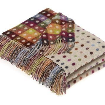 Rainbow Merino Lambswool Multi Spot Beige Throw Blanket