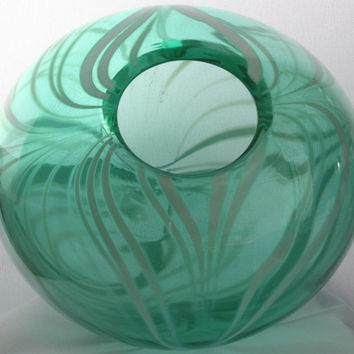 Large Closed Transparent Green Bowl with Opaque White Swirls, Hand Blown Glass Bowl – Free Shipping
