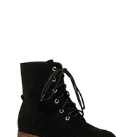 Faux Suede Combat Boots with Tonal Stitching