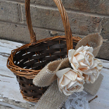 Burlap and Lace Flower Girl Basket - Rustic Flower Girl Basket - Burlap Flower Girl Basket