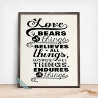 Love Bears All Things Print, Typography Print, Typography Poster, Couples Decor, Bedroom Decor, Wall Art, Mothers Day Gift