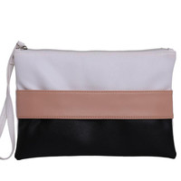 Women Wallet Handbag Stitching Hit Color Stripe Envelope Clutch Bag Long Section