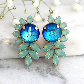 Blue Earrings, Blue Green Earrings, Blue Green Earrings, Bridal Blue Earrings, Swarovski Crystal Earrings, Statement Earrings, Big Studs
