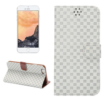 White Grid Leather Card Hold Wallet creative cases Cover for iPhone 5S 6 6S Plus Samsung Galaxy S6 Hight Quality