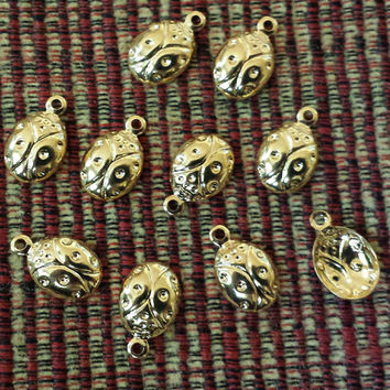 Gold 14K Plated Stamped Little Ladybugs Drops Charms Beads 10 pcs #M17558FDE
