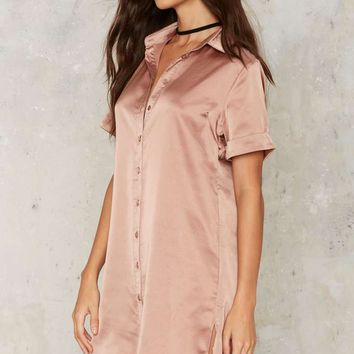 Glamorous Carver Satin Shirt Dress