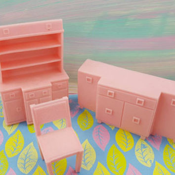 Superior Dining room  Soft  Plastic pink Chair Sideboard China hutch Dollhouse furniture