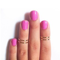 Above Knuckle Ring Gold Silver Shiny Thin Top of Finger Midi Rings Set New Style