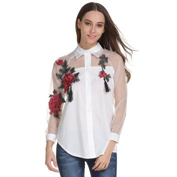 2017 Autumn New Women Floral Embroidered Long Sleeve Shirt Hollow Mesh Yarn Long Sleeved Blouse Tops Women Girls White #913