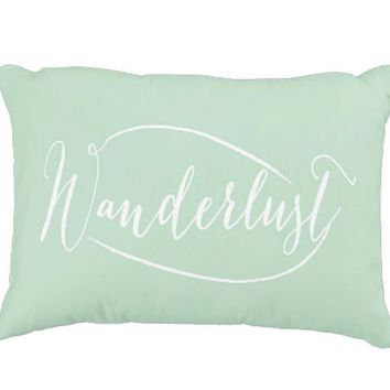 "16""x12"" Mint Wanderlust Decorative Pillow Cover, Typography, Couch Lumbar Pillow, Accent Pillow"