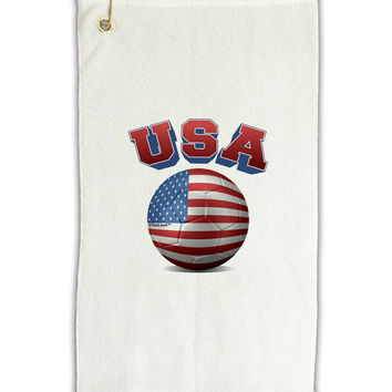 "Soccer Ball Flag - USA Micro Terry Gromet Golf Towel 11""x19"