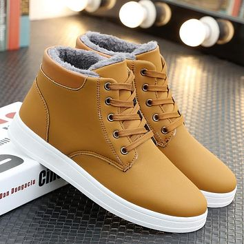Men Winter Boots Lace Up Sneakers Ankle Snow Boot Plush Inside Antiskid Casual Male Flat Shoes Chaussure Homme