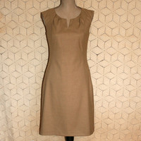 Brown Dress Sleeveless Dress Casual Dress Midi Dress Tan Beige Dress Neutral Simple Summer Dress Coldwater Creek Size Small Womens Clothing