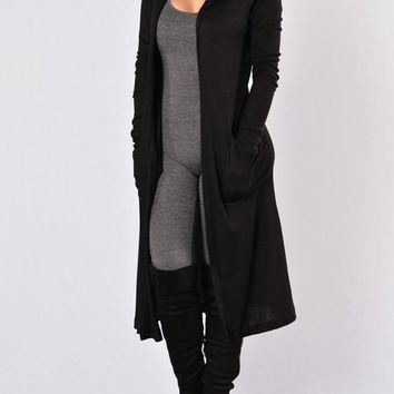 Black Pockets Long Sleeve Hooded Casual Fall Cardigans Coat