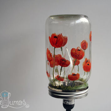 Mason Jar Lamp Red Poppy flowers  - Red flowers mason Jar light - custom painted mason jar light - Table Lamp - Desk lamp - wizard of oz
