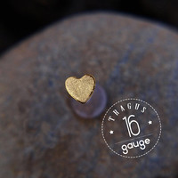 TRAGUS 4mm Gold HEART /16 gauge / Bioflex/ 24k gold plated/  Sterling silver/ tragus earring/ heart tragus/ cartilage earring/ helix