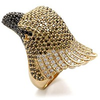 Gold & Ruthenium Eagle Ring Multi Color CZ Ring