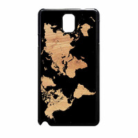 World Map On Wood Texture Print Samsung Galaxy Note 3 Case