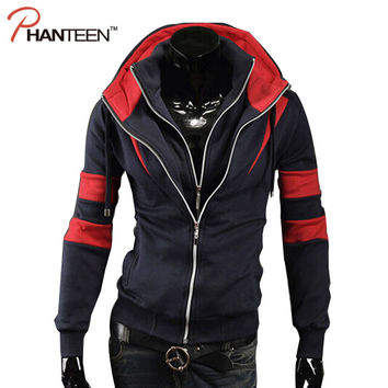 Fashion Patchwork Double Deck Design Men Hoodies Assassins Creed Sweatshirt Casual Street Man Tracksuit