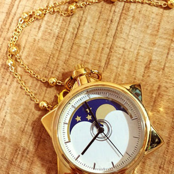 SALE / Sailor Moon Tuxedo Mask Star Locket Pocket Watch Necklace [FREE SHIPPING]
