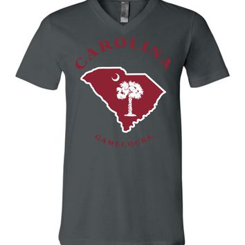 Official NCAA University of South Carolina Fighting Gamecocks USC COCKY SC Map Unisex V-Neck T-Shirt - UAXSC